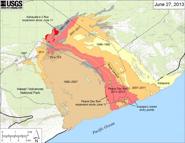 Map of the current lava flows on Kilauea (HVO daily update)