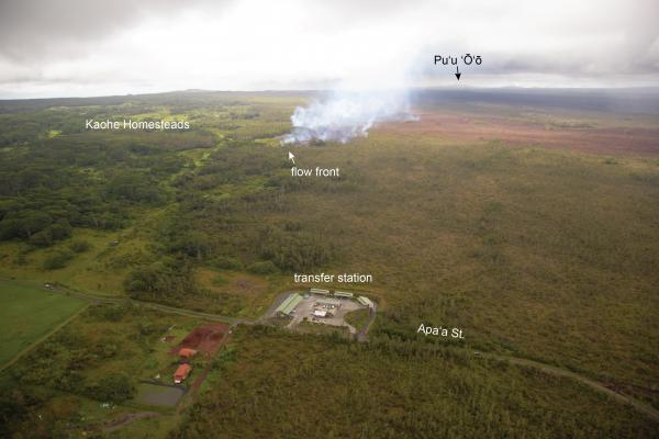 Very slowly advancing lava flow SW of Pahoa