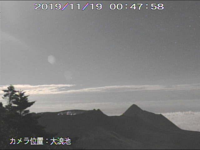 Kirishima's Shinmoedake crater seen this evening (MBC webcam(