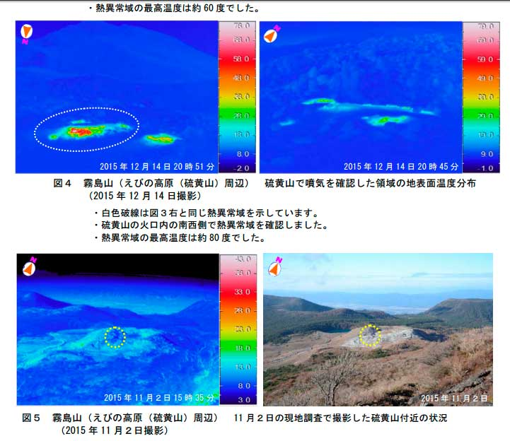 Thermal imagery and photo of the new fumarole field at Kirishima (JMA)