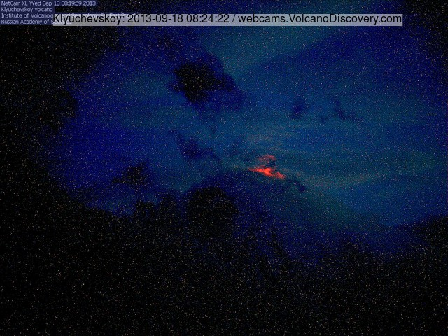 Klyuchevskoy volcano last evening with glow from the active lava flow