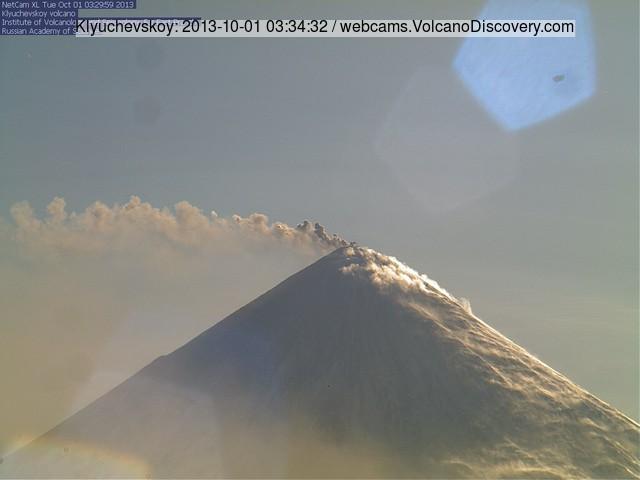 Small ash plume from Klyuchevskoy volcano this morning