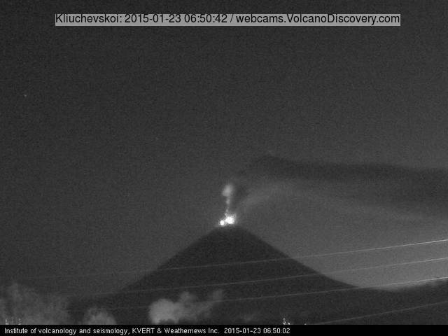 Ash plume and incandescence from strombolian activity at Klyuchevskoy volcano yesterday