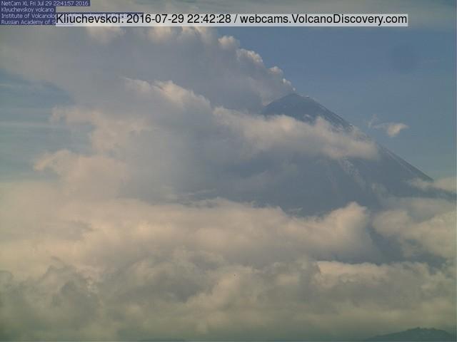 Steam/ash plume from Klyuchevskoy volcano last night