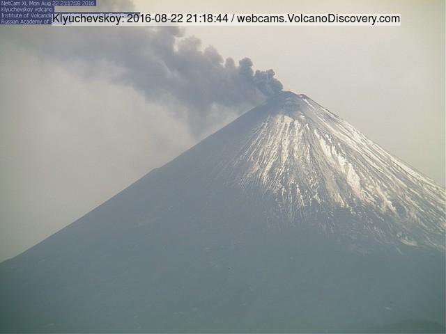 Steam/ash plume from Klyuchevskoy volcano this morning (KVERT webcam)