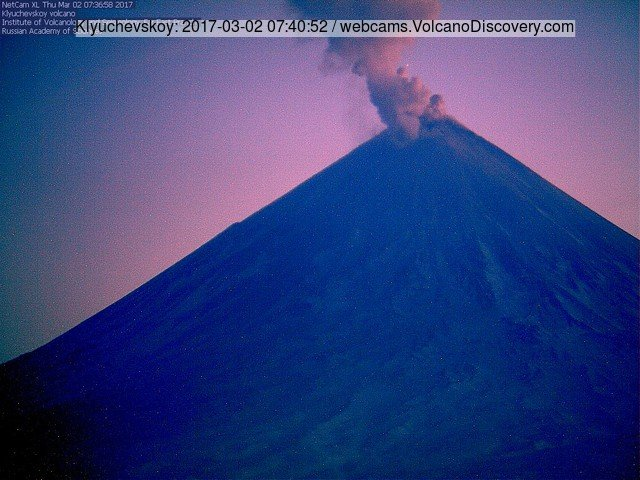 Ash emission from Klyuchevskoy volcano last evening (KVERT webcam)