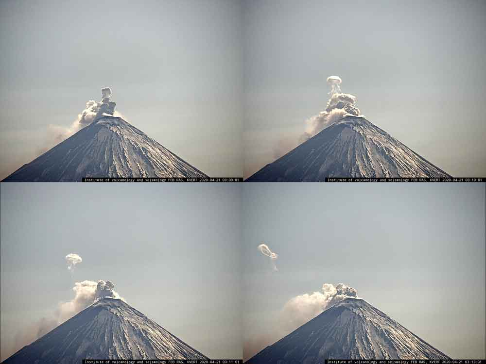 "The steam ring (""smoke ring"") of Klyuchevskoy volcano this morning (image: KVERT webcam)"