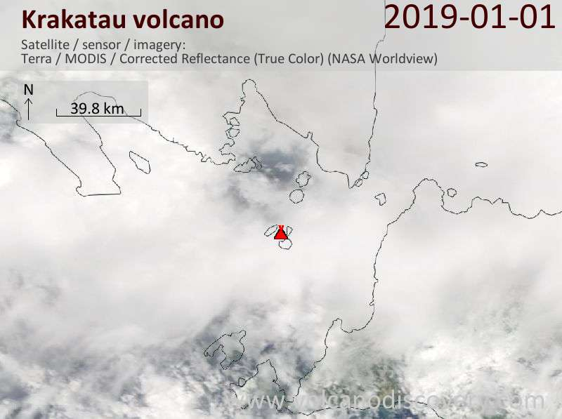 Satellite image of Krakatau volcano on  1 Jan 2019