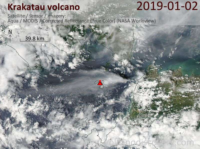 Satellite image of Krakatau volcano on  2 Jan 2019