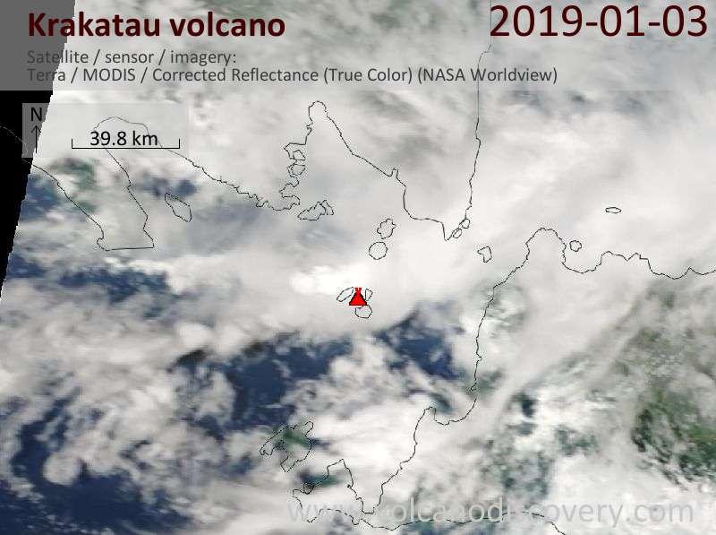 Satellite image of Krakatau volcano on  3 Jan 2019
