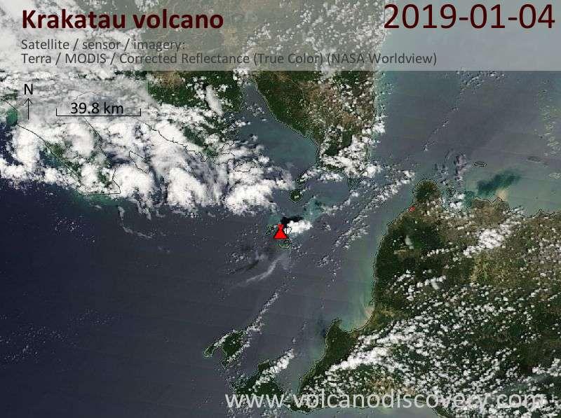 Satellite image of Krakatau volcano on  4 Jan 2019
