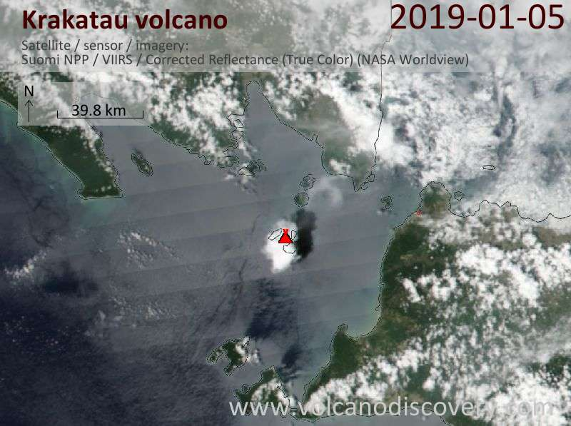 Satellite image of Krakatau volcano on  5 Jan 2019