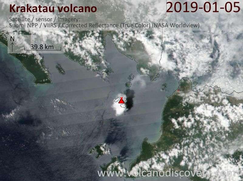 Спутниковое изображение вулкана Krakatau  6 Jan 2019
