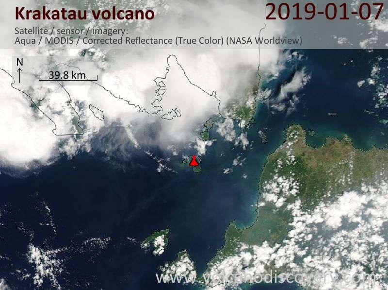 Satellite image of Krakatau volcano on  7 Jan 2019
