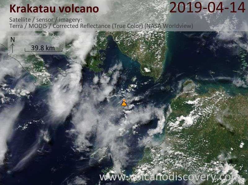Satellite image of Krakatau volcano on 14 Apr 2019