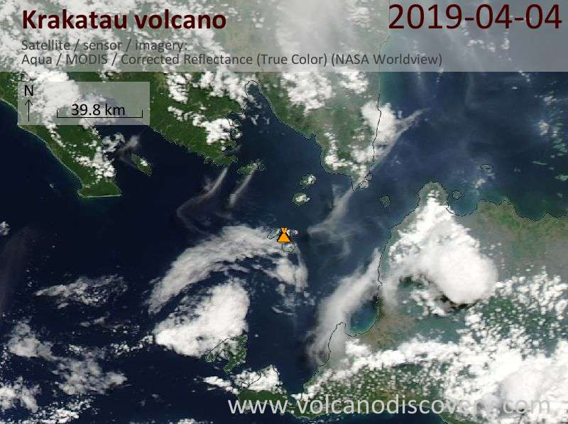 Satellite image of Krakatau volcano on  4 Apr 2019