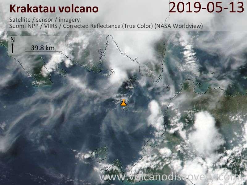 Satellite image of Krakatau volcano on 13 May 2019