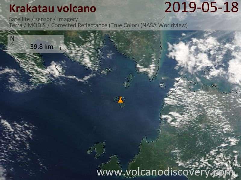 Спутниковое изображение вулкана Krakatau 18 May 2019