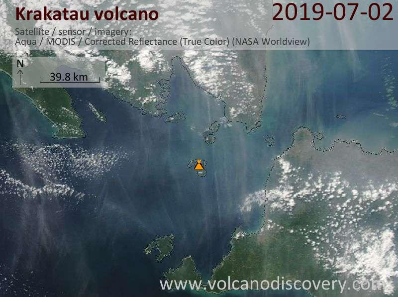Satellite image of Krakatau volcano on  2 Jul 2019