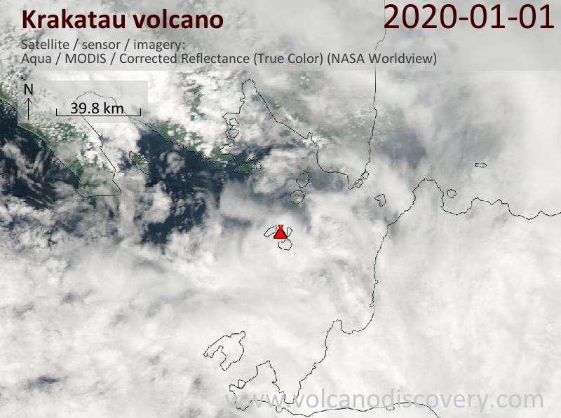 Satellite image of Krakatau volcano on  1 Jan 2020