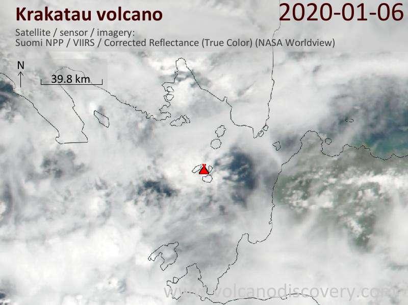 Satellitenbild des Krakatau Vulkans am  7 Jan 2020