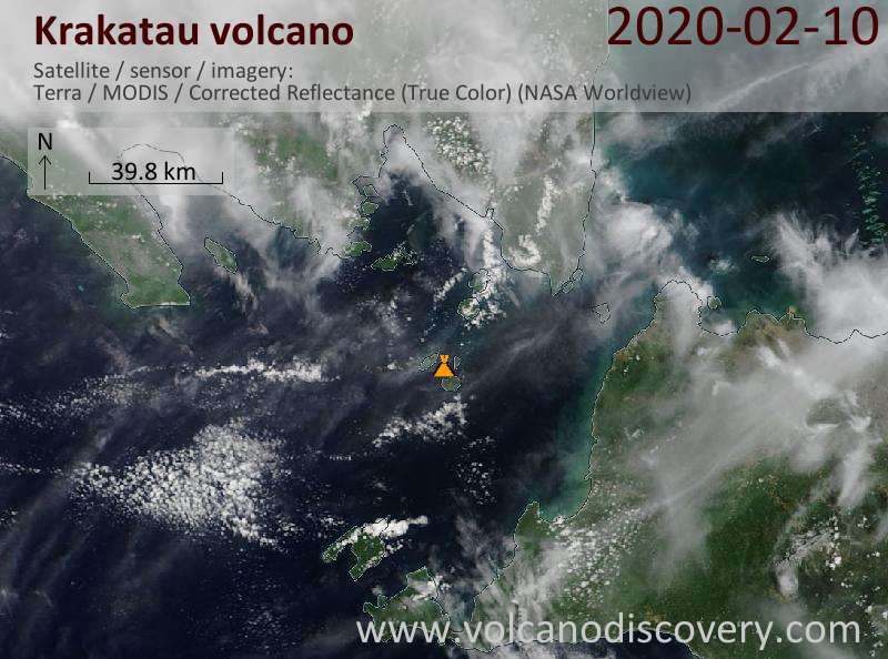 Satellite image of Krakatau volcano on 10 Feb 2020