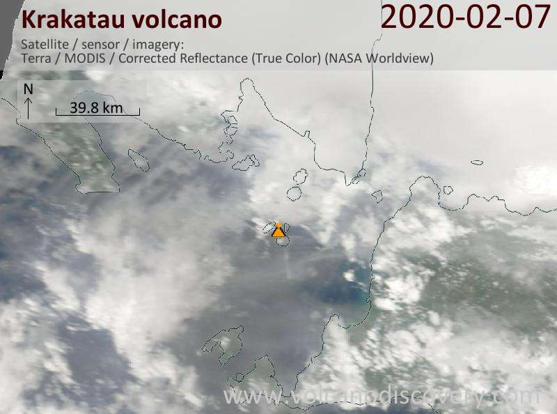 Satellitenbild des Krakatau Vulkans am  7 Feb 2020