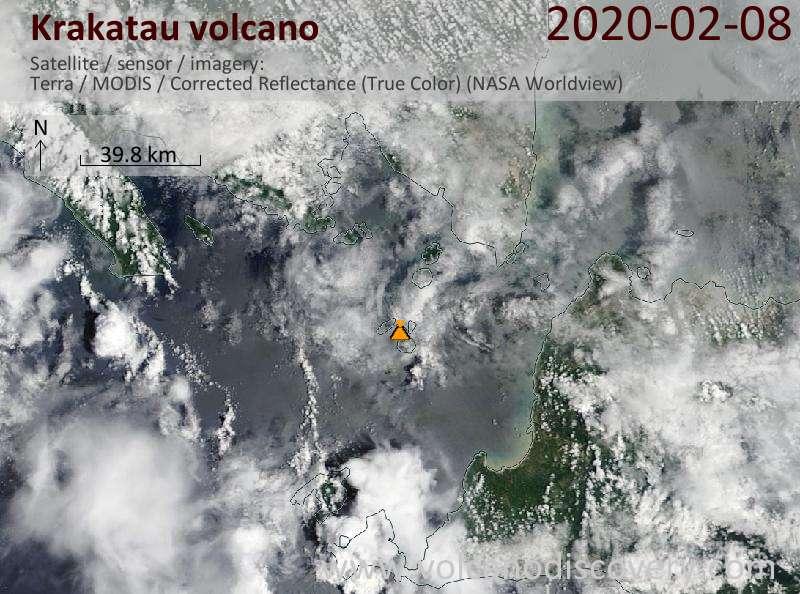 Satellitenbild des Krakatau Vulkans am  8 Feb 2020