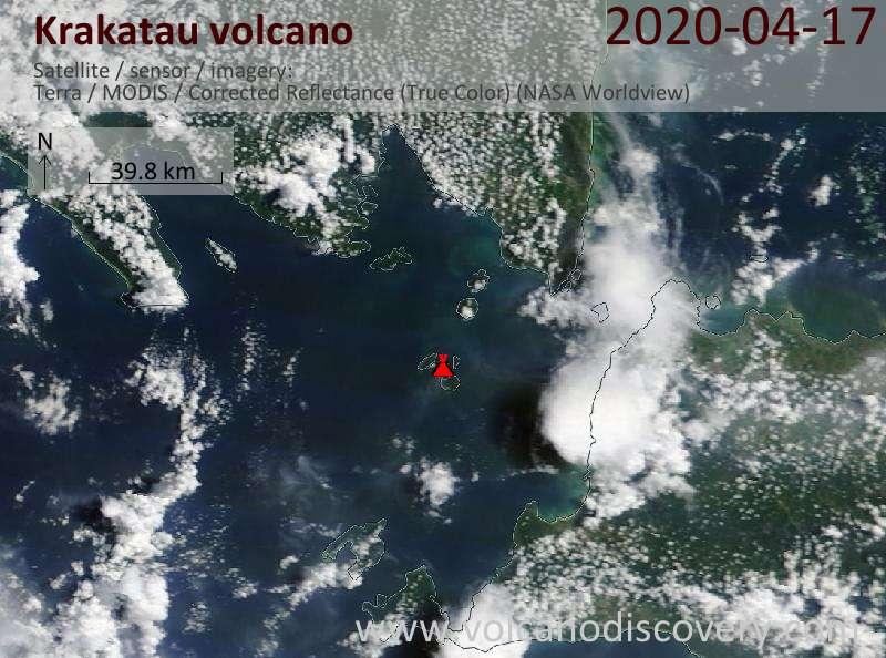 Satellite image of Krakatau volcano on 17 Apr 2020
