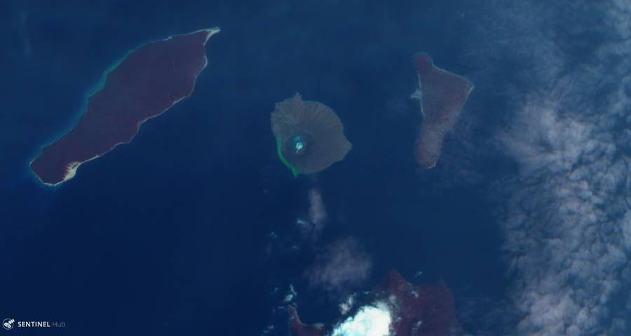 Satellite image of Krakatau on 7 Feb 2020