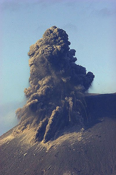Explosion at Anak Krakatau's new crater