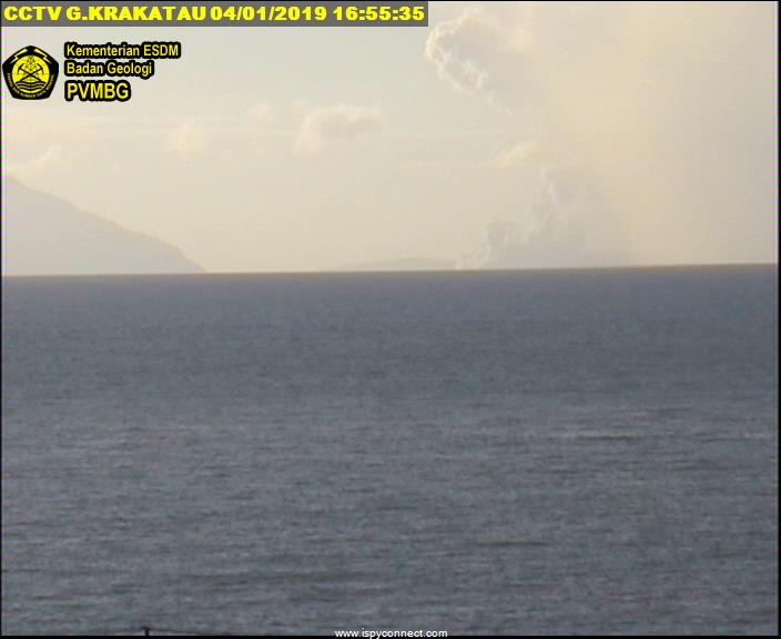 Eruptions from Anak Krakatoa seen on the volcano observatory's webcam this afternoon