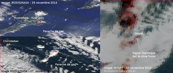 Recent saltellite images showing the currently 4 active volcanoes in the Kuriles (credit: Culture Volcan / @CultureVolcan / Twitter)