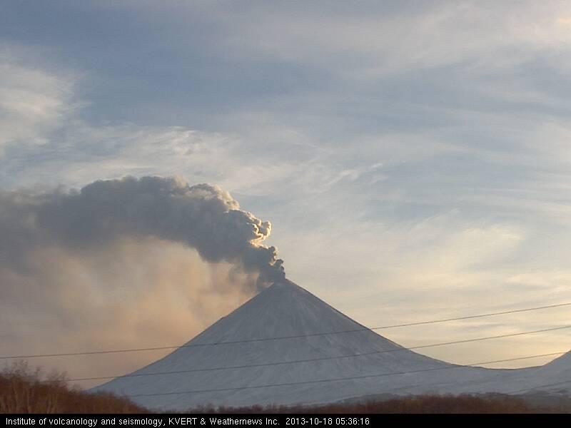 Ash column rising from Klyuchevskoy volcano this morning