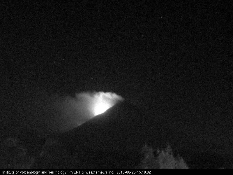 Glow from Klyuchevskoy's lava flow this evening