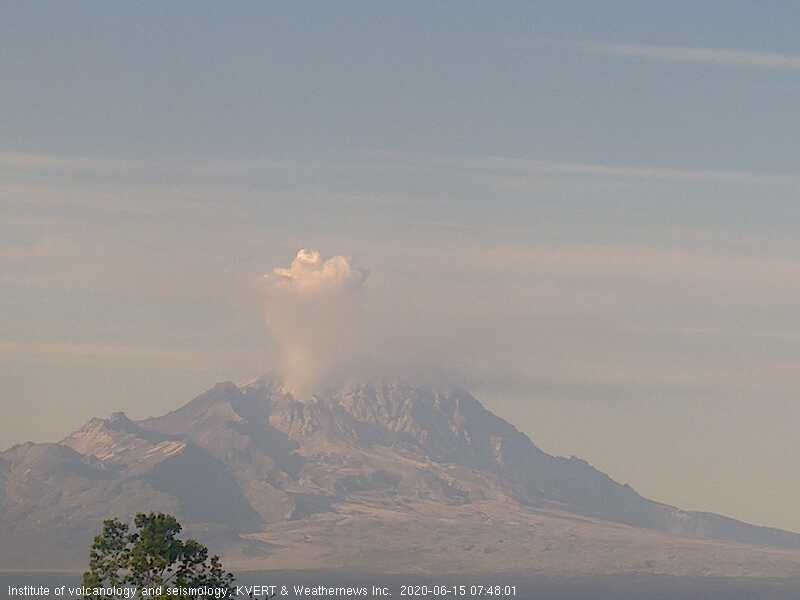Explosion from Sheveluch volcano this morning (image: KVERT)