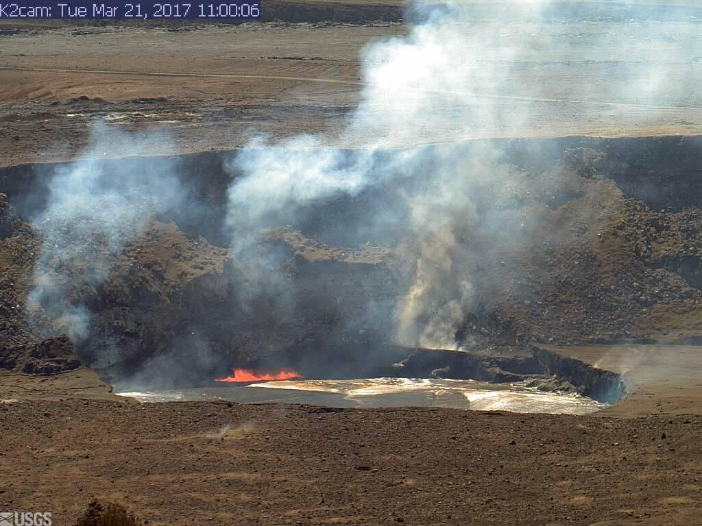 Kilauea's summit lava lake as of this morning (image: HVO webcam)