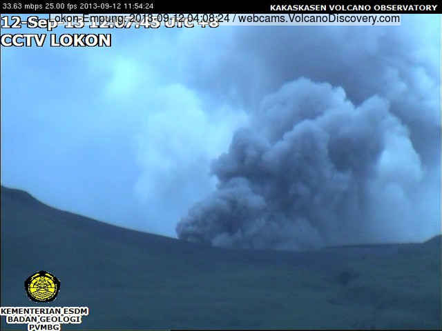 Ash emission from Lokon volcano this morning (VSI webcam)
