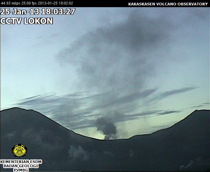 Ash emission from Lokon (VSI webcam)