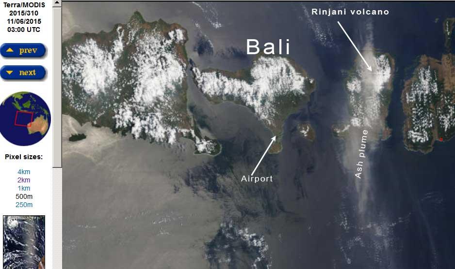 Ash plume over Lombok island this morning (NASA / MODIS)