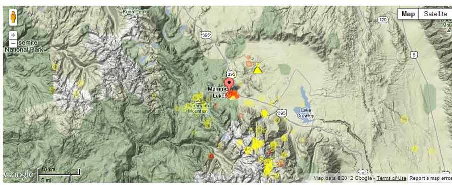 Location of the recent quakes at Long Valley (red dots for 12-13 Aug)