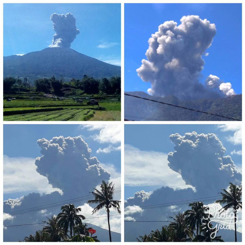 Small eruptions from Marapi in western Sumatra (image: PVMBG via detiknews)