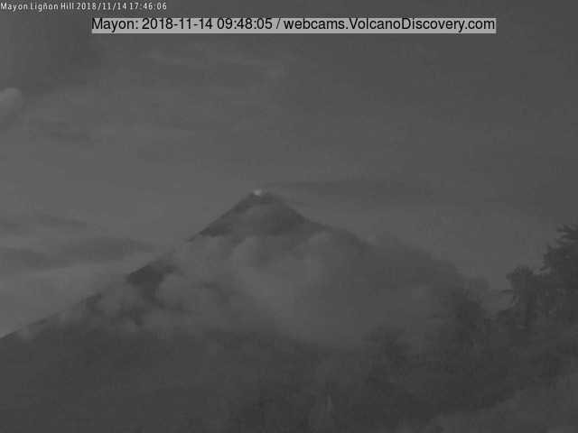 Glow from Mayon volcano's crater yesterday morning