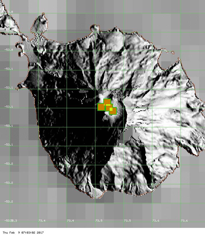Hot spots on Heard Island summarized over the past 7 days (MODIS / Univ. Hawai'i)