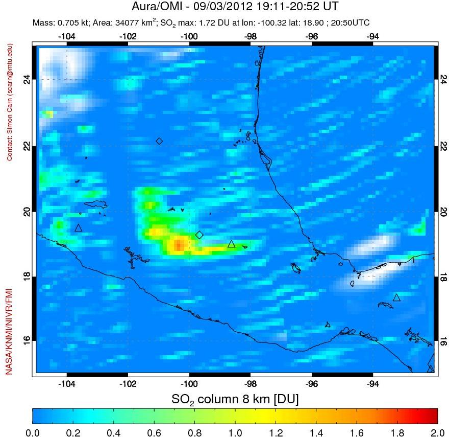 SO2 plume from Popocatépetl on 3 Sep 2012 (NOAA)
