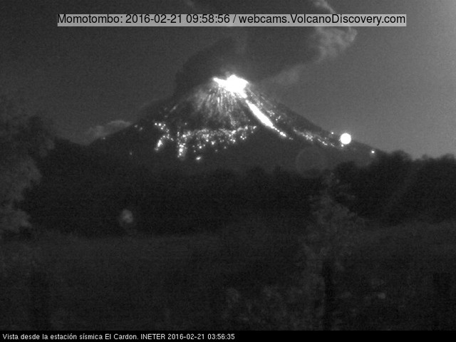 Eruption of Momotombo volcano yesterday