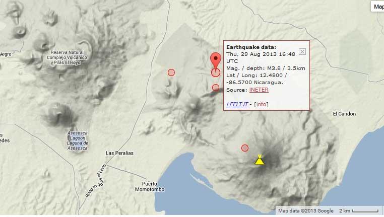 Location of yesterday's earthquake under Momotombo volcano, Nicaragua