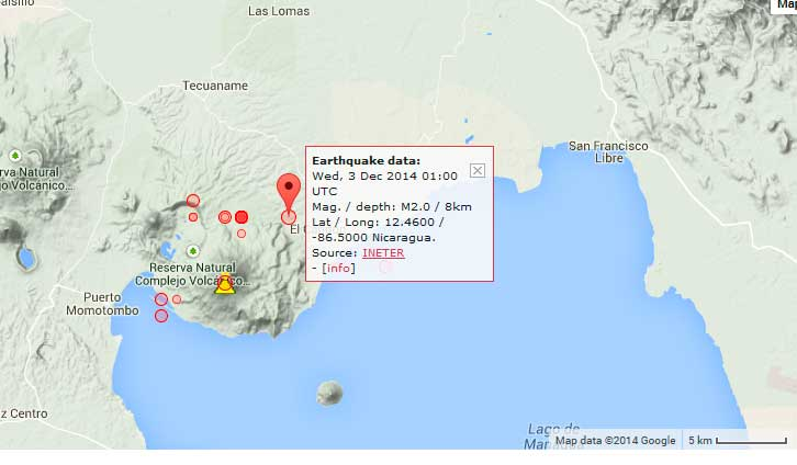 Today's earthquakes under Momotombo volcano