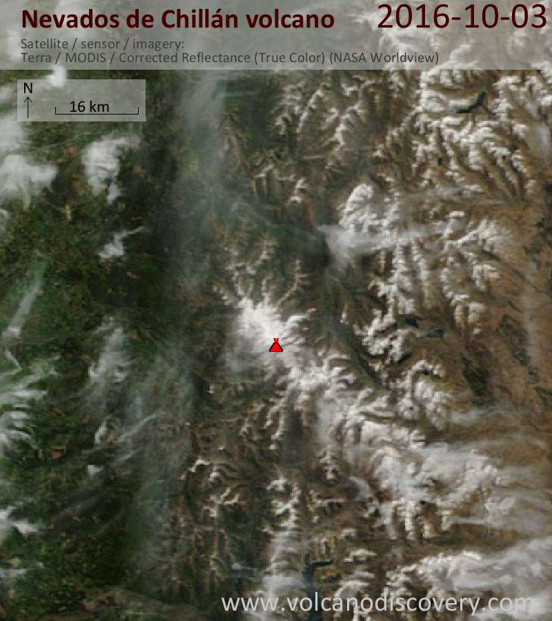 Satellite image of Nevados de Chillán volcano on  3 Oct 2016