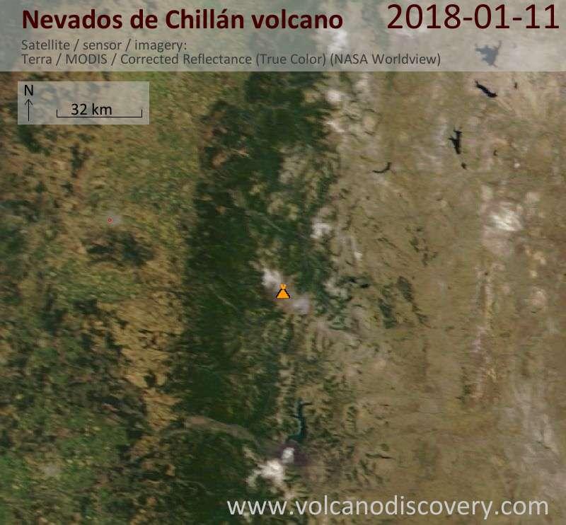 Satellite image of Nevados de Chillán volcano on 11 Jan 2018